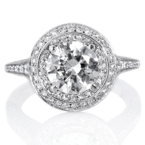 18K White Gold Masterwork Cushion Halo Triple Band Engagement Ring with Surprise Diamonds