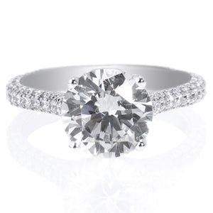 Platinum Pave Solitaire Engagement Ring Setting