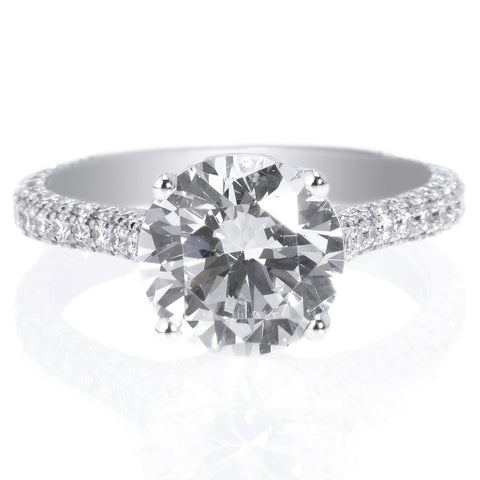 Platinum Pave Diamond Solitaire Engagement Ring
