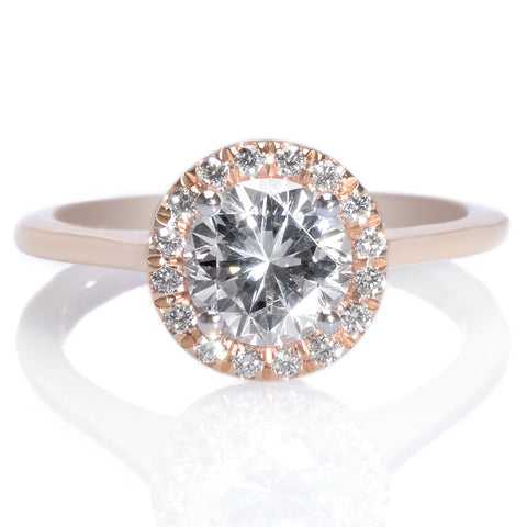 18K Rose Gold & Platinum Round Diamond Halo Engament Ring
