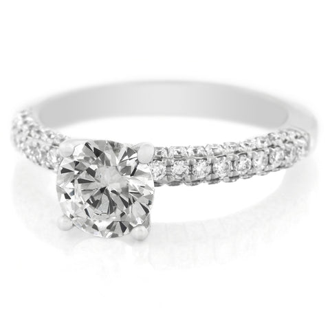 Platinum Four Prong Three Sided Pave Diamond Engagement Ring