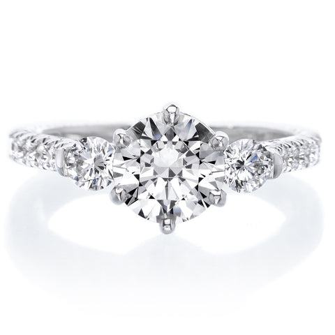 18K White Gold Six Prong Three Stone Diamond Engagement Ring