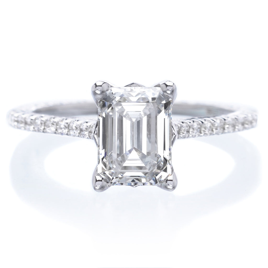 18k white gold emerald cut diamond engagement ring with. Black Bedroom Furniture Sets. Home Design Ideas