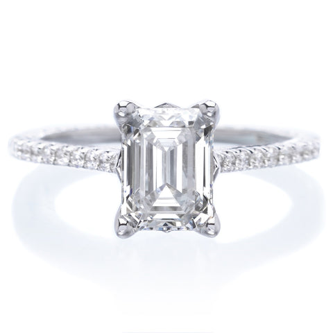 18K White Gold Emerald Cut Diamond Engagement Ring with Engraving