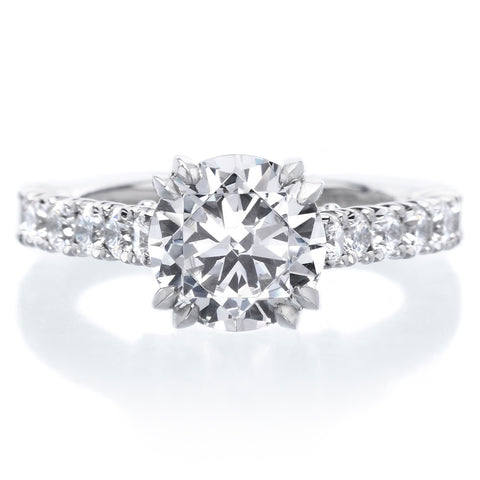 Platinum Three Stone Pave Diamond Engagement Ring