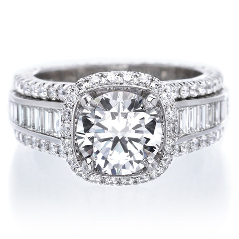 Platinum Diamond Halo Engagement Ring with Graduated Baguette Diamond Band