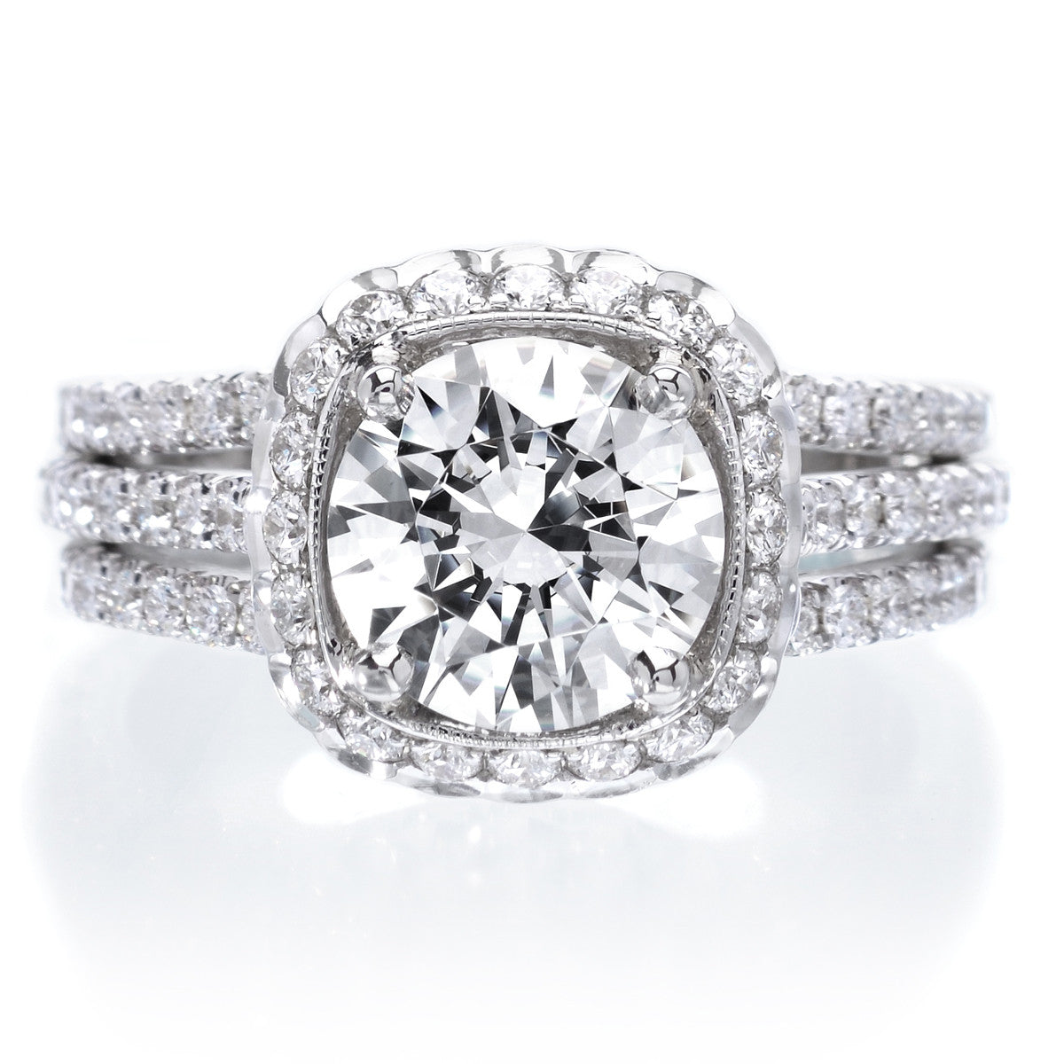 18K White Gold Three Row Diamond Halo Engagement Ring