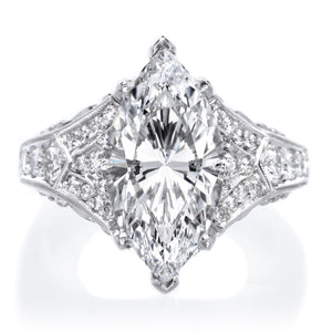 Platinum Marquise Cut Diamond Filigree Engagement Ring