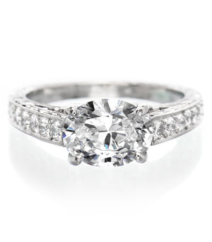Platinum Oval Deco Diamond Engagement Ring with Milgrain