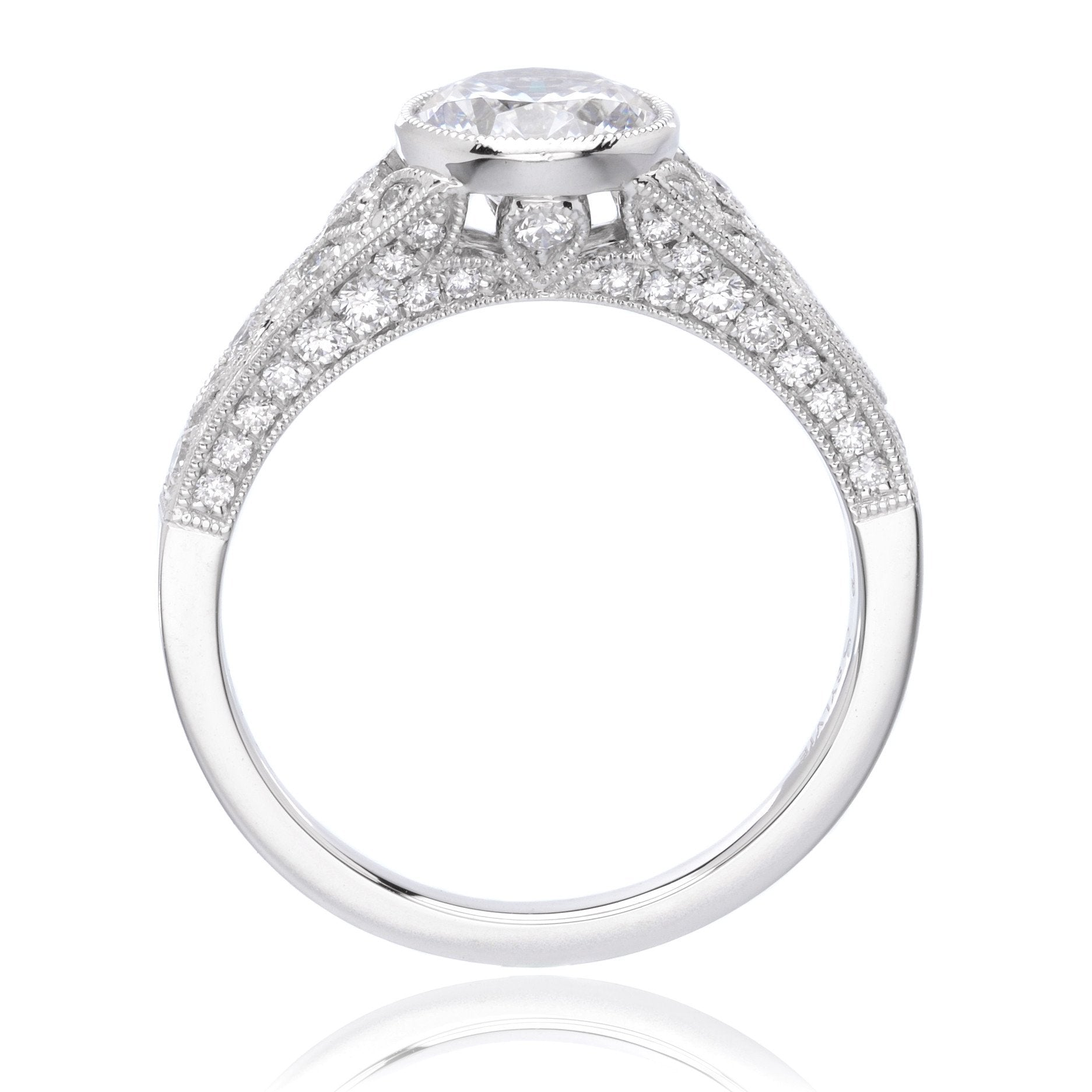 Platinum Vintage Bezel-Set Engagement Ring Setting