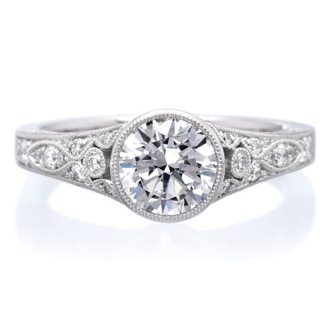 Platinum Vintage Bezel Diamond Engagement Ring