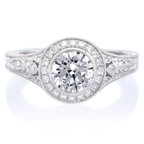 18K White Gold Vintage Bezel Diamond Engagement Ring