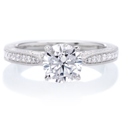 Platinum Designer Engraved Solitaire Diamond Engagement Ring