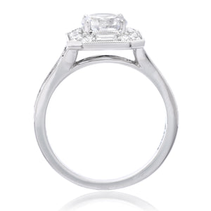 18K White Gold Engagement Ring Setting With Unique Halo