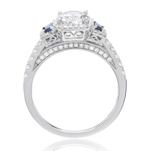 18K White Gold Three-Stone Diamond and Blue Sapphire Engagement Ring Setting