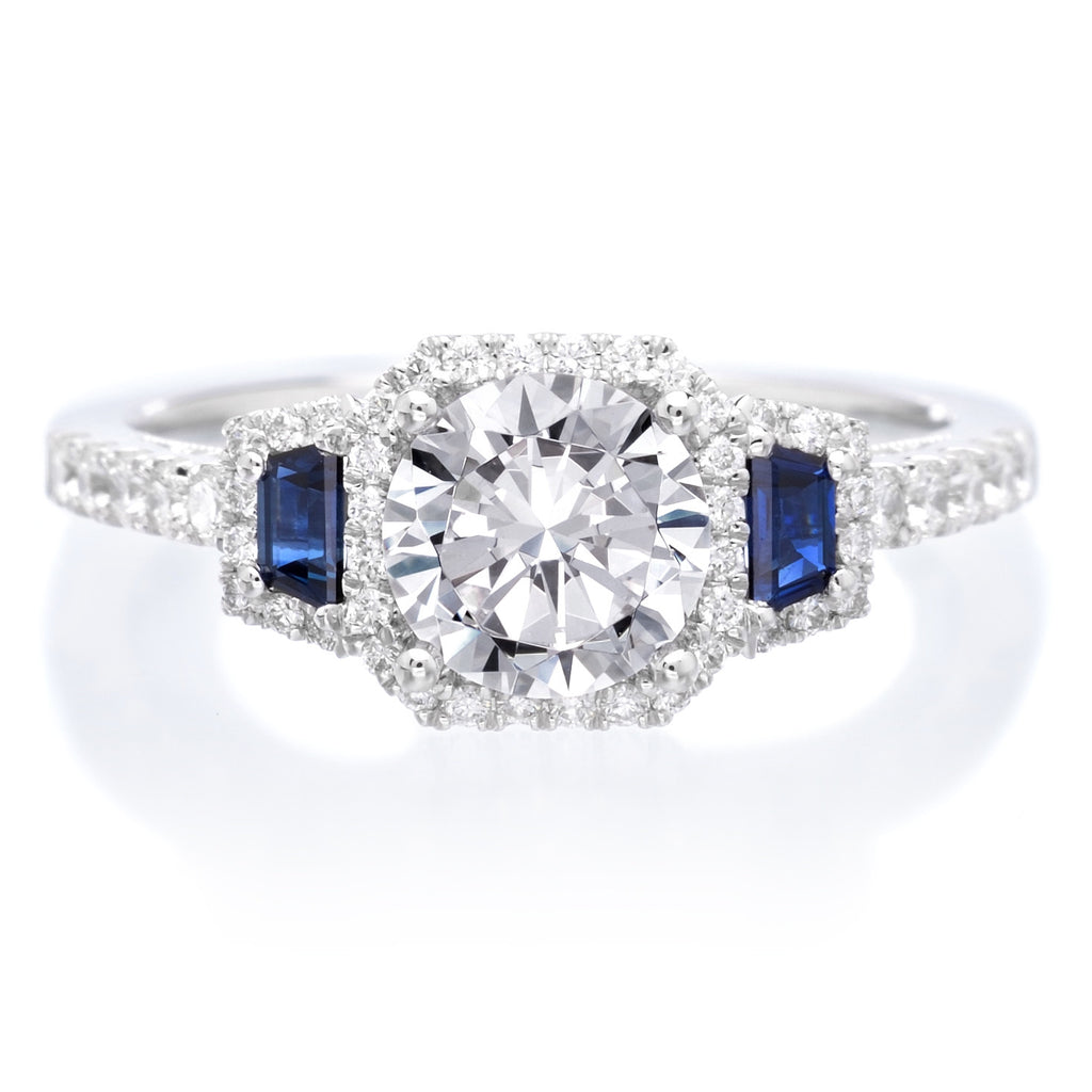 diamond engagement bands ring trilogy three set and blue stone channel product sapphire princess with cut