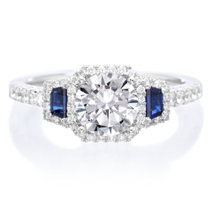 18K White Gold Three-Stone Diamond and Blue Sapphire Engagement Ring