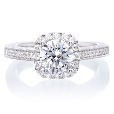 Platinum Romantic Round Brilliant Halo Diamond Engagement Ring