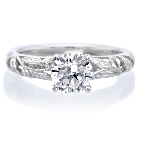 Platinum Vintage Inspired Designer Engagement Ring