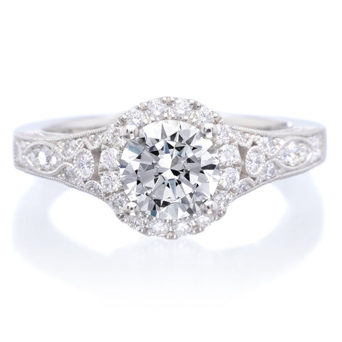 Platinum Designer Antique Inspired Halo Diamond Engagement Ring
