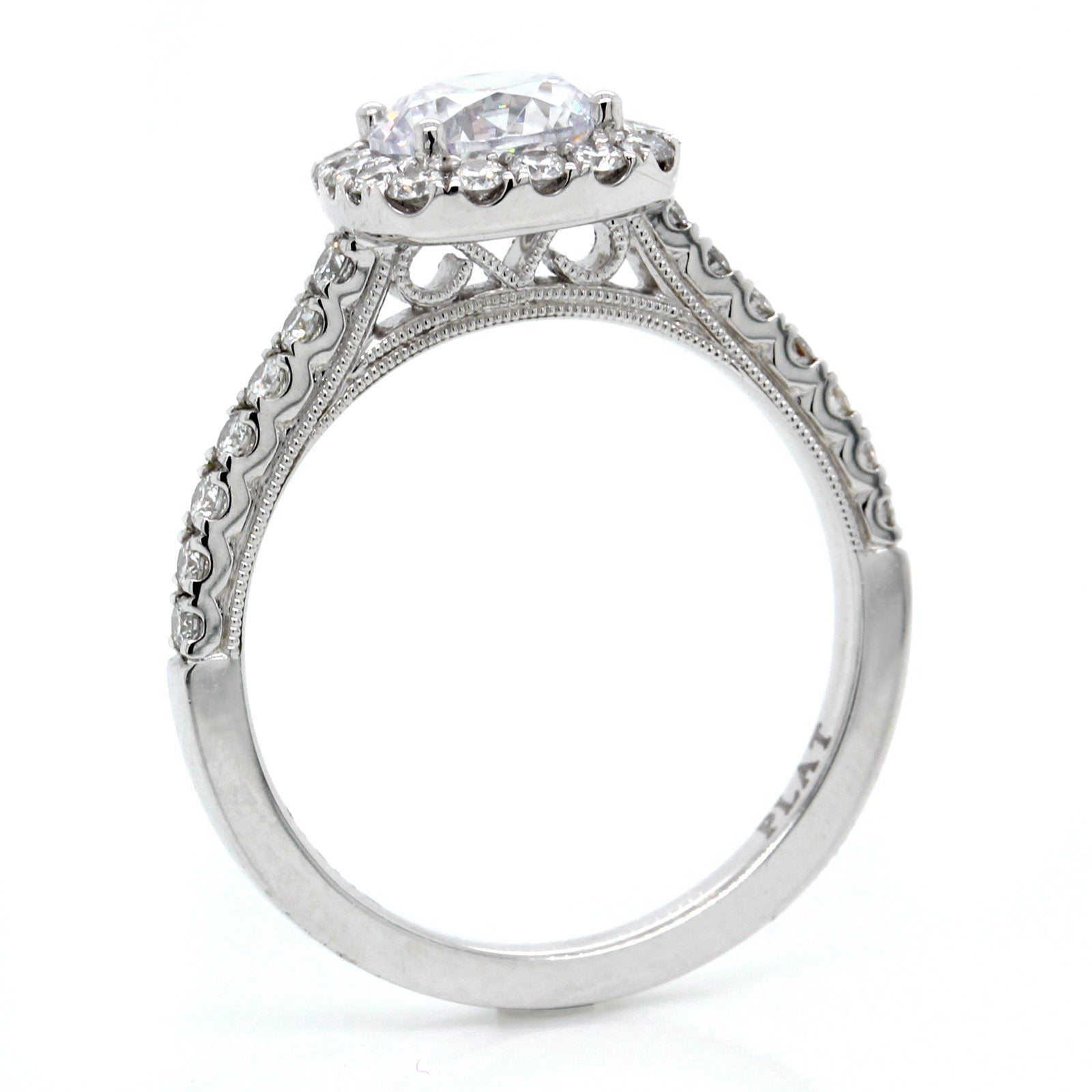 Platinum Vintage Halo Engagement Ring Setting