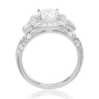 18K White Gold Designer Cushion-Cut Halo Engagement Ring Setting