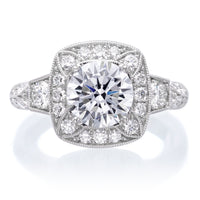 18K White Gold Designer Cushion Halo Diamond Engagement Ring