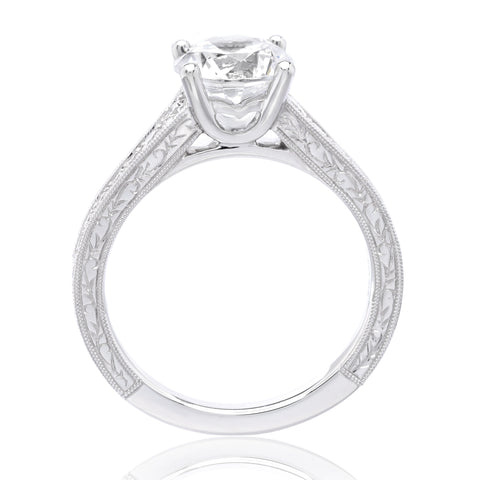 Platinum Classic Round Brilliant Tapered Diamond Engagement Ring