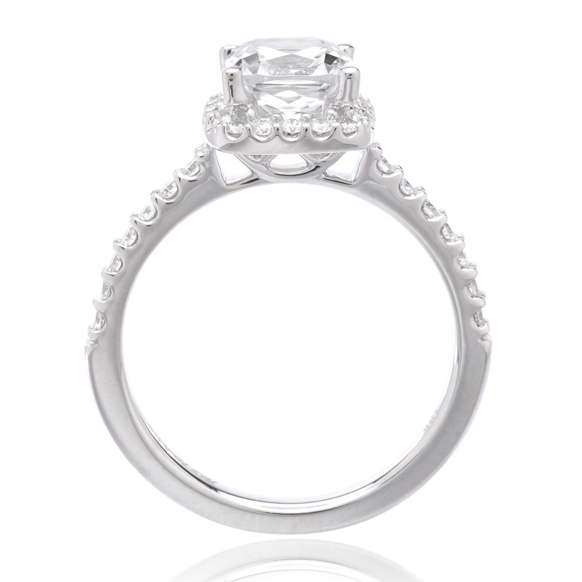 18K White Gold Cushion Halo Engagement Ring Setting