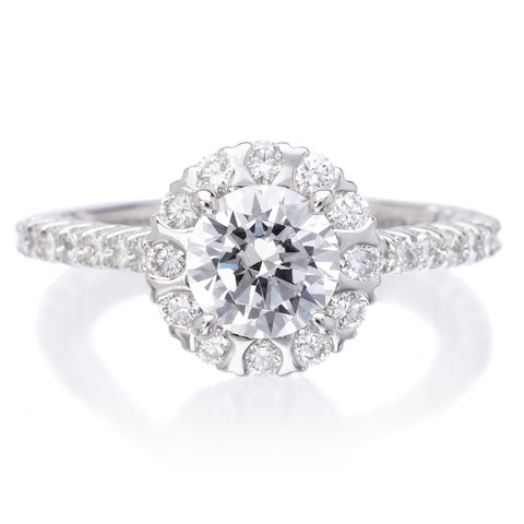 18K White Gold Masterwork Cushion Halo Triple Diamond Band Engagement Ring with Surprise Diamonds