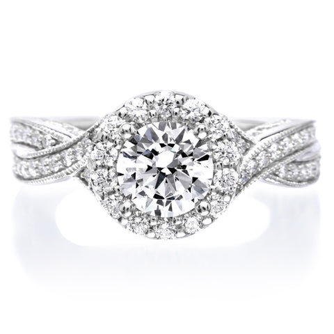 18K White Gold Three Stone Halo Diamond Engagement Ring