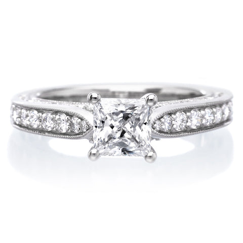 Vintage style engagement rings longs jewelers 91000 18k white gold blanche engagement ring junglespirit Image collections