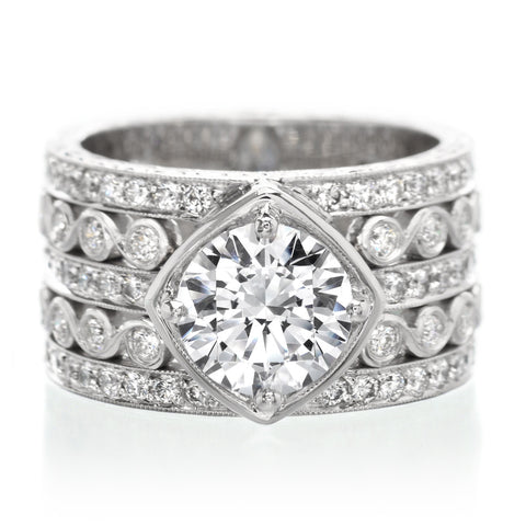 Platinum Five Row Diamond Engagement Ring