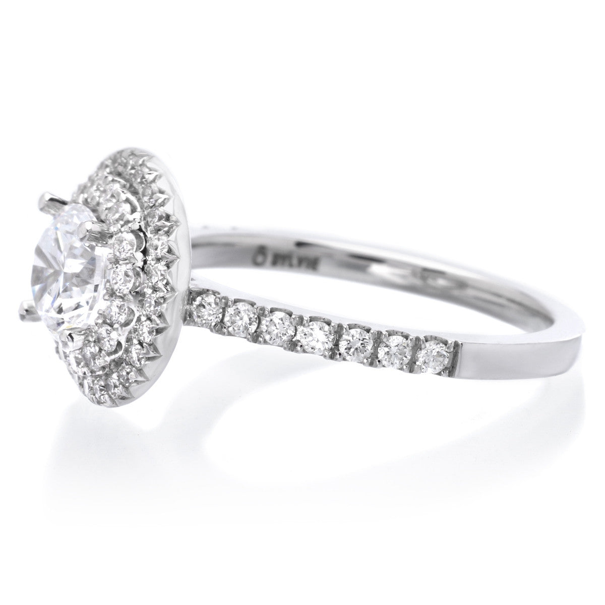 14K White Gold Classic Double-Halo Engagement Ring Setting
