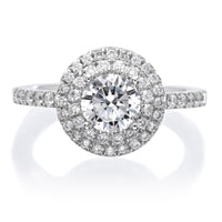 Classic Double-Halo Diamond Engagement Ring