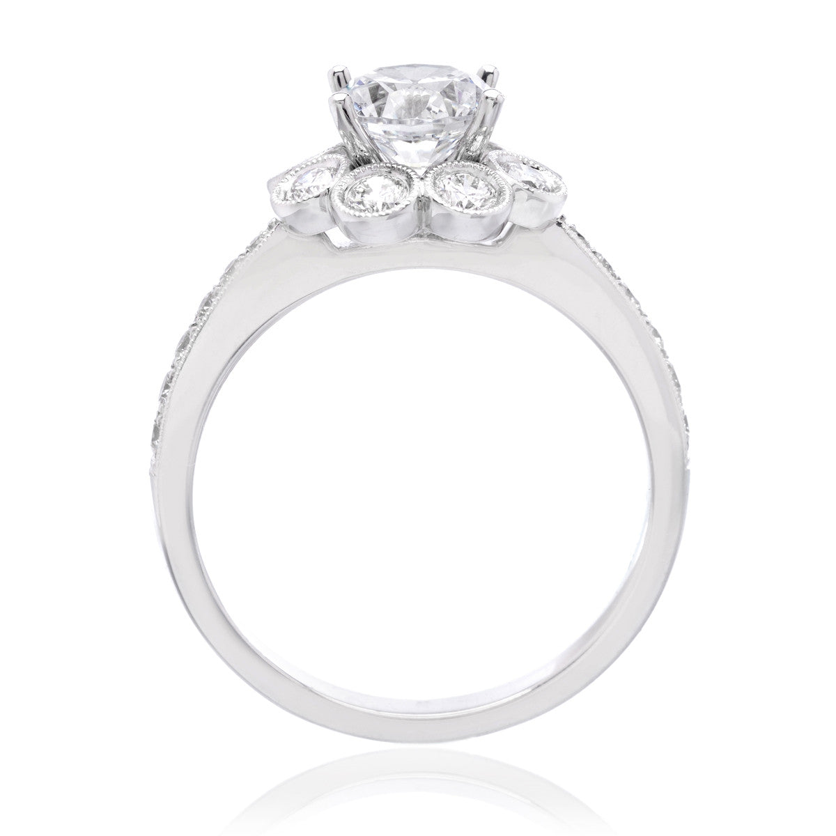 14K White Gold Vintage Floral Engagement Ring Setting