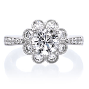 Vintage Floral Diamond Engagement Ring