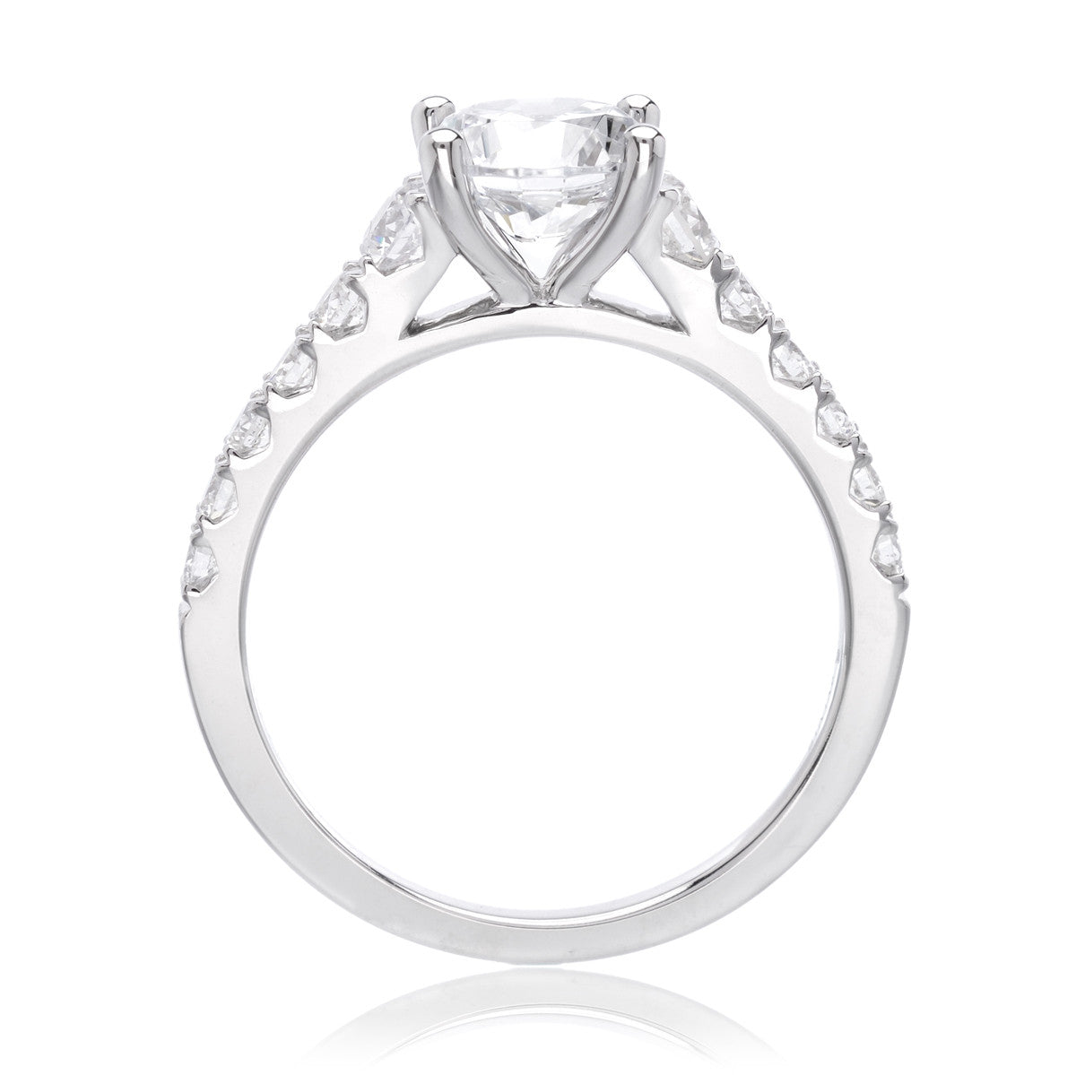14K White Gold Classic Cascading Graduated Shank Engagement Ring Setting
