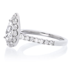 14K White Gold Classic Pear Halo Engagement Ring Setting