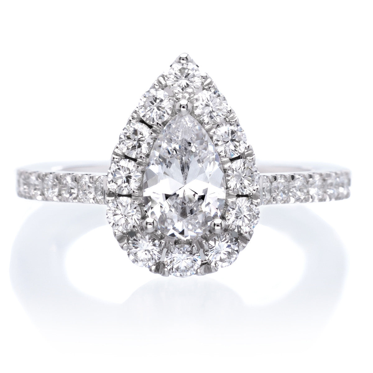 Classic Pear Halo Diamond Engagement Ring