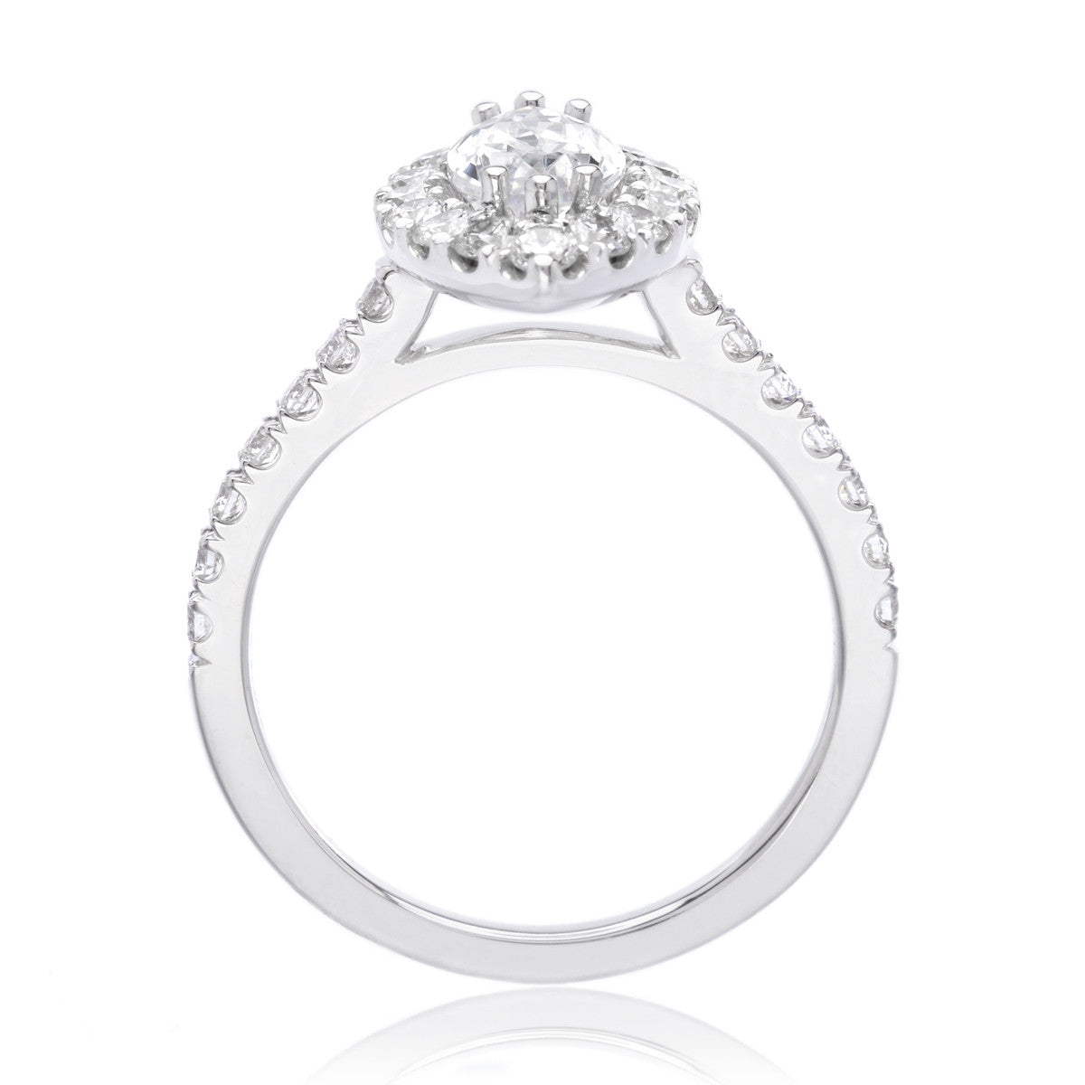 14K White Gold Classic Marquis-Cut Halo Engagement Ring Setting