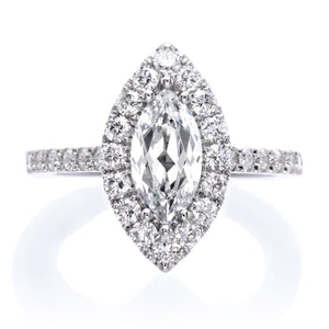 Classic Marquis Halo Diamond Engagement Ring
