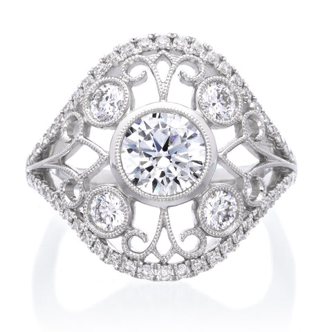 Vintage Round Head Engagement Ring