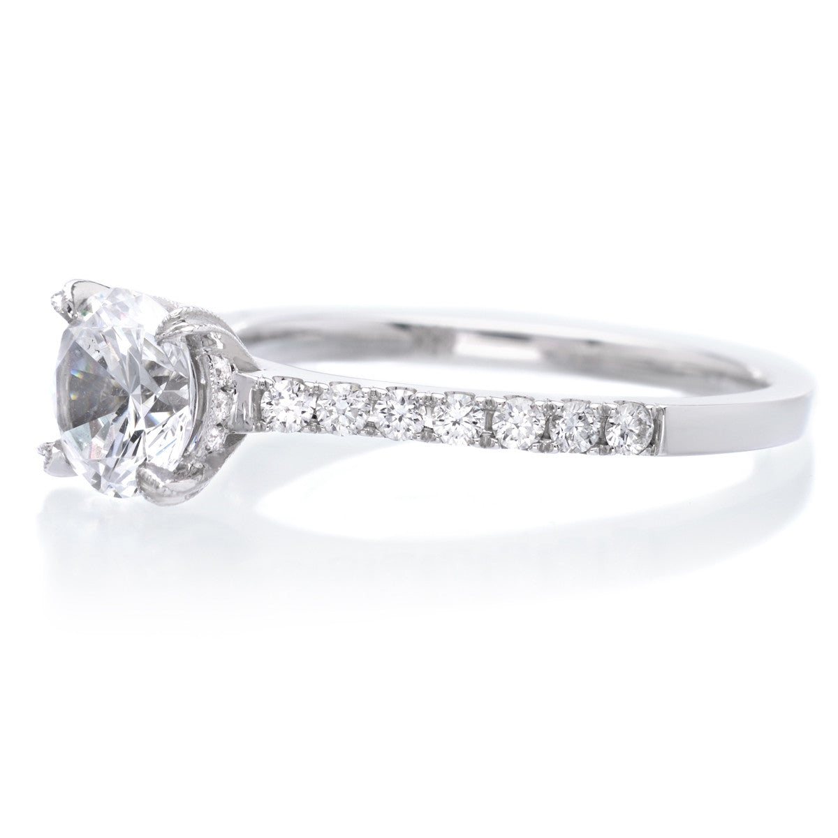 18K White Gold Classic Prong-Set Engagement Ring Setting