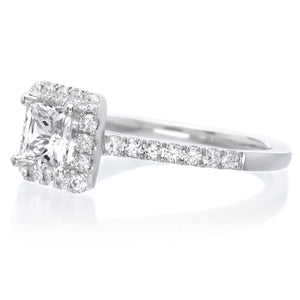 14K White Gold Classic Princess-Cut Halo Engagement Ring Setting