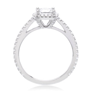 18K White Gold Cushion-Cut Halo Engagement Ring Setting