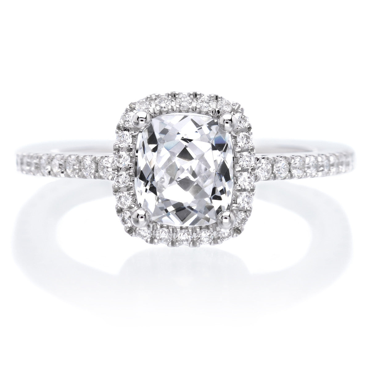 Unique Cushion Cut Halo Diamond Engagement Ring