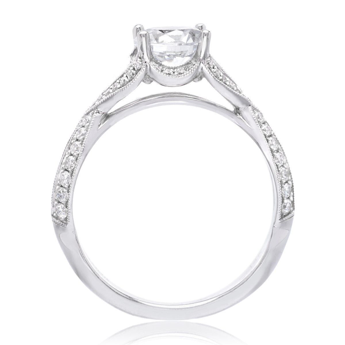 14K White Gold Vintage Criss-Cross Solitaire Engagement Ring Setting