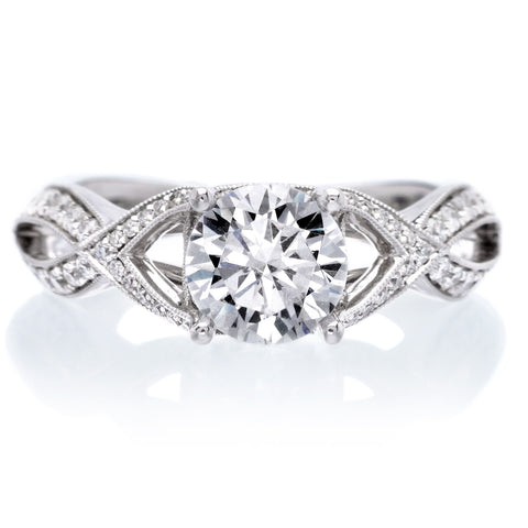 Vintage Criss-Cross Solitaire Diamond Engagement Ring