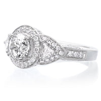 18K White Gold Mixed Shape Three-Stone Halo Engagement Ring Setting